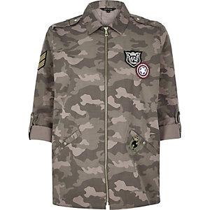 Khaki camouflage print shirt jacket