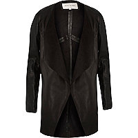 Black leather open front jacket