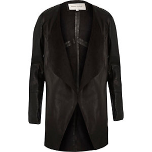 Black leather-look open front jacket
