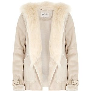 Nude faux fur hooded jacket