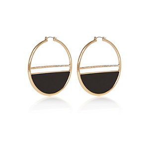 Gold tone glam statement hoop earrings