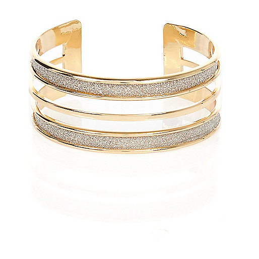 Gold tone glitter multi row bangle
