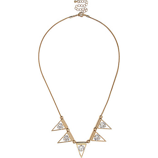 Gold tone glass triangle necklace
