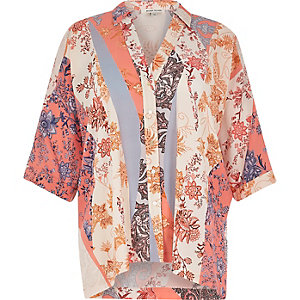 RI Plus pink floral print shirt