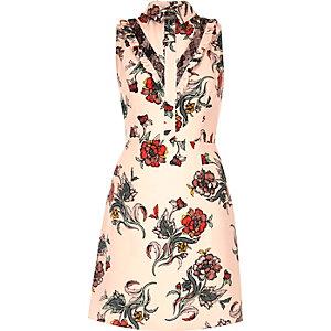 Pink print A-line collar dress