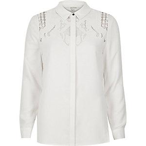 Cream cutwork shirt