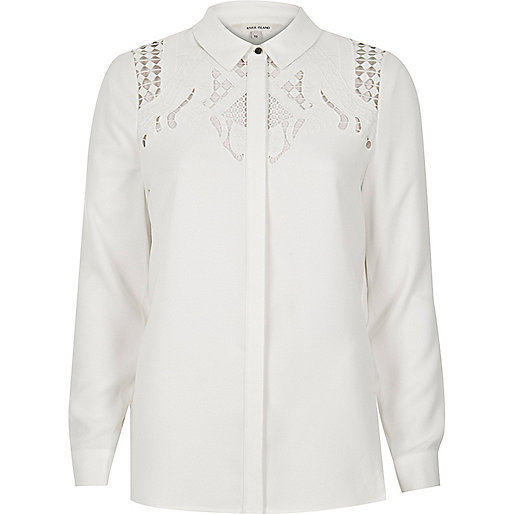 Cream cutwork shirt