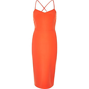 Orange strappy bodycon cami dress
