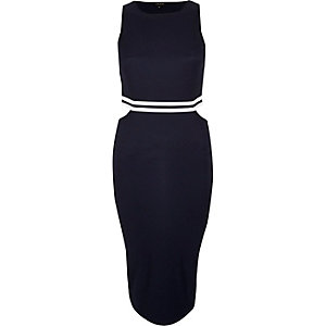 Navy sporty trim cut-out dress