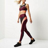 Legging de sport RI Active avec empiècements contrastants rouge foncé