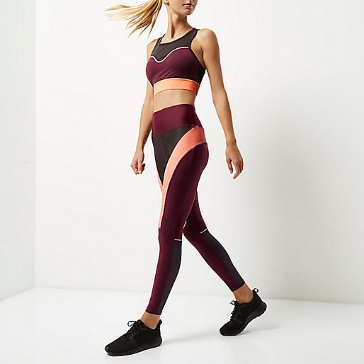 RI Active burgundy block sports leggings