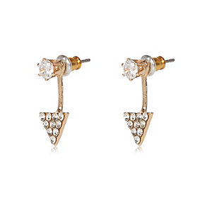Gold tone crystal triangle drop earrings