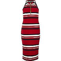Red sporty stripe bodycon dress