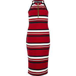 Red sporty stripe bodycon dress