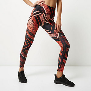 RI Active – Orange, bedruckte Sport-Leggings