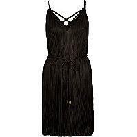 Black pleated swing dress