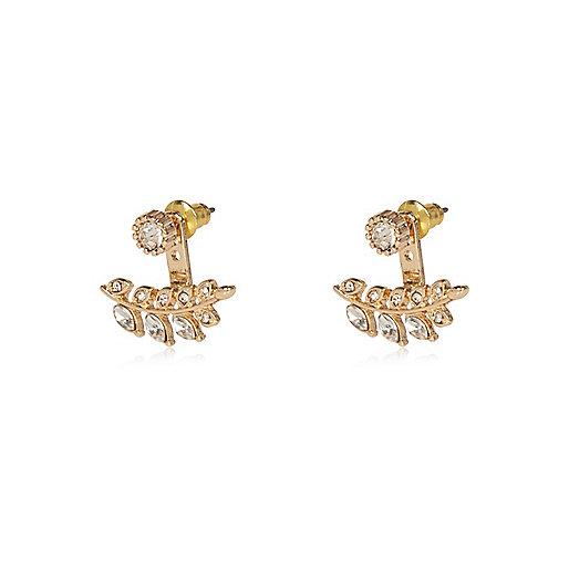 Boucles d'oreilles dorées motif feuille