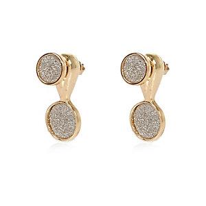 Gold tone glitter drop earrings