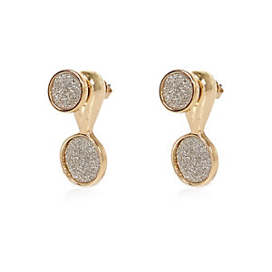 Gold tone glitter drop earrings