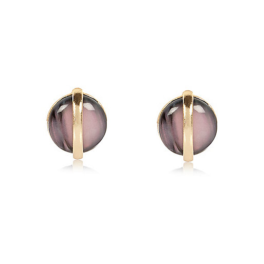 Gold tone globe stud earrings