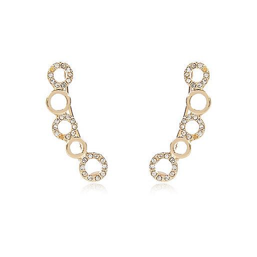 Gold tone diamanté ear cuffs