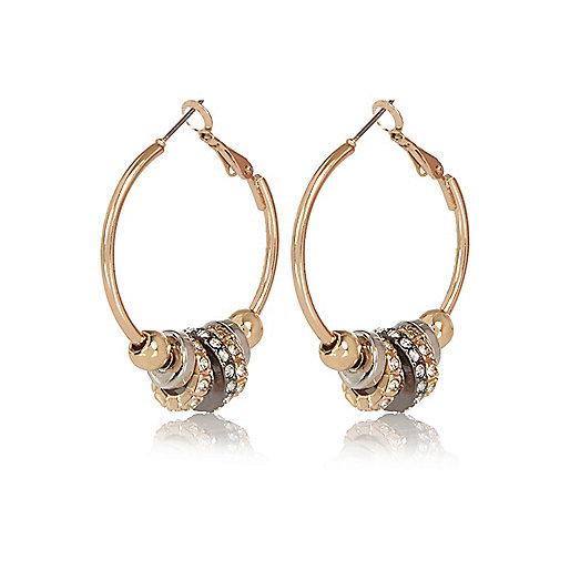 Gold tone multi hoop earrings