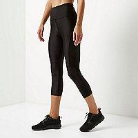 RI Active black mesh sports capri leggings