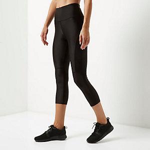 RI Active – Sport-Capri-Leggings aus schwarzem Netzstoff