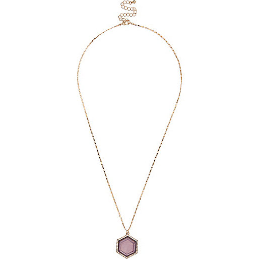 Gold tone hexagonal gem necklace