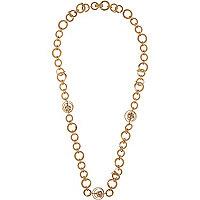Goldfarbene Halskette mit Kreisanhänger