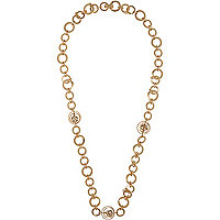 Gold tone circle chain necklace