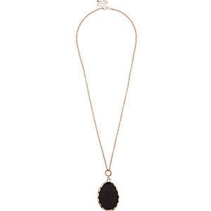 Rose gold tone black gemstone necklace