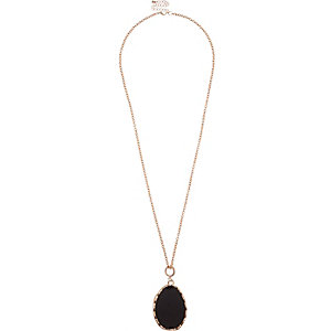 Rose gold tone black gemstone necklace