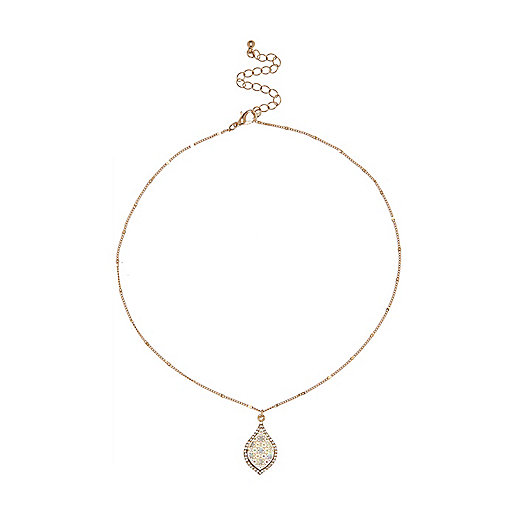 Gold tone tear necklace