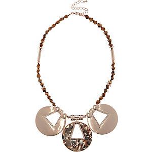 Bronze tone resin bib necklace