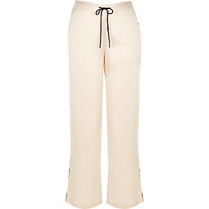 Cream satin pajama bottoms