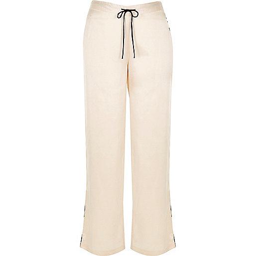 Cream satin pajama bottoms