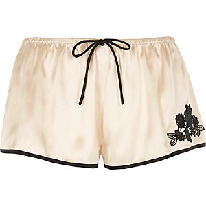 Cream satin pajama shorts
