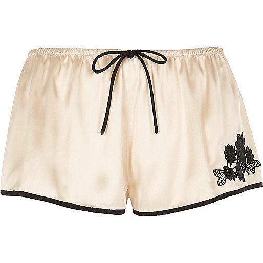 Cream satin pyjama shorts