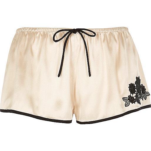 Cream satin pajama shorts