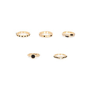 Gold tone black gemstone rings pack