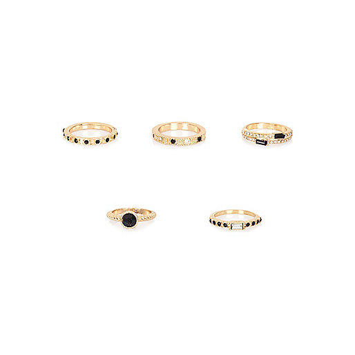 Gold tone black gemstone rings pack