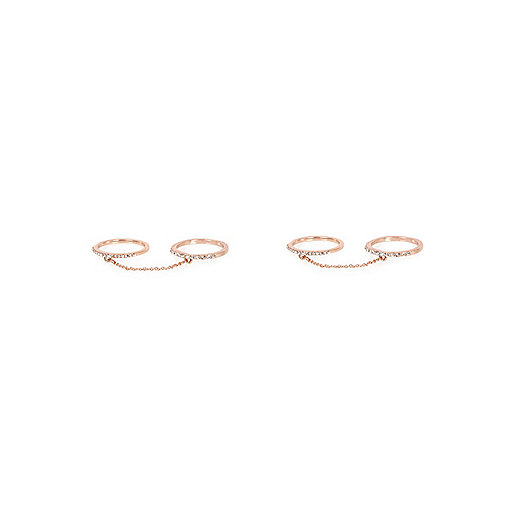 Rose gold tone linked diamanté rings pack