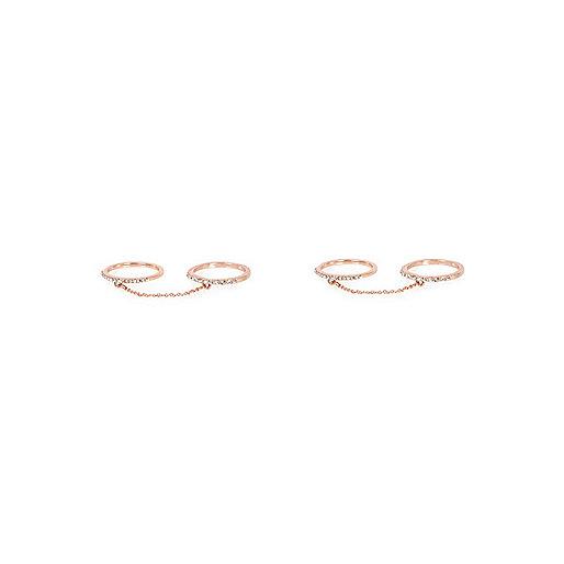 Rose gold tone linked diamanté rings pack
