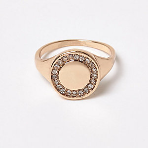 Gold tone gem encrusted ring