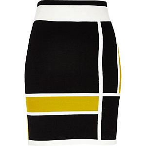 Black color block mini skirt