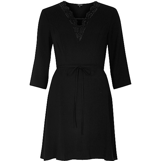 Black lace plunge neck dress