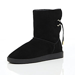 Black suede faux fur trim ankle boots