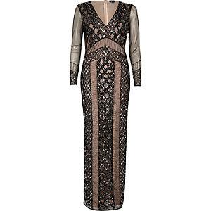Black embellished mesh maxi dress