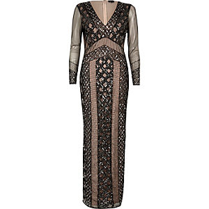 Black embellished mesh maxi dress